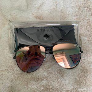 Quay High Key Gunmetal and Rose Gold Sunglasses